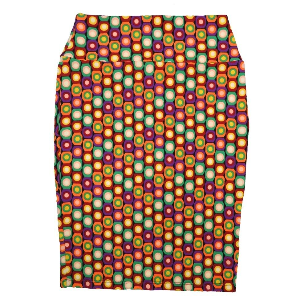 Cassie Small (S) LuLaRoe Polka Purple Yellow Orange White Womens Knee Length Pencil Skirt Fits 6-8