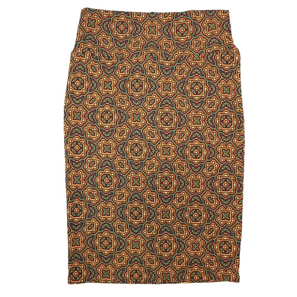 Cassie Small (S) LuLaRoe Yellow Green Dark Maroon Mandal Womens Knee Length Pencil Skirt Fits 6-8