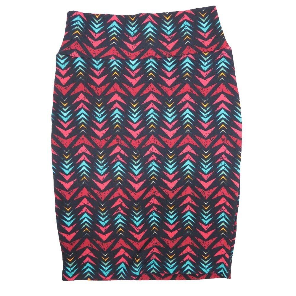 Cassie Small (S) LuLaRoe Navy Pink Light Blue Arros Womens Knee Length Pencil Skirt Fits 6-8