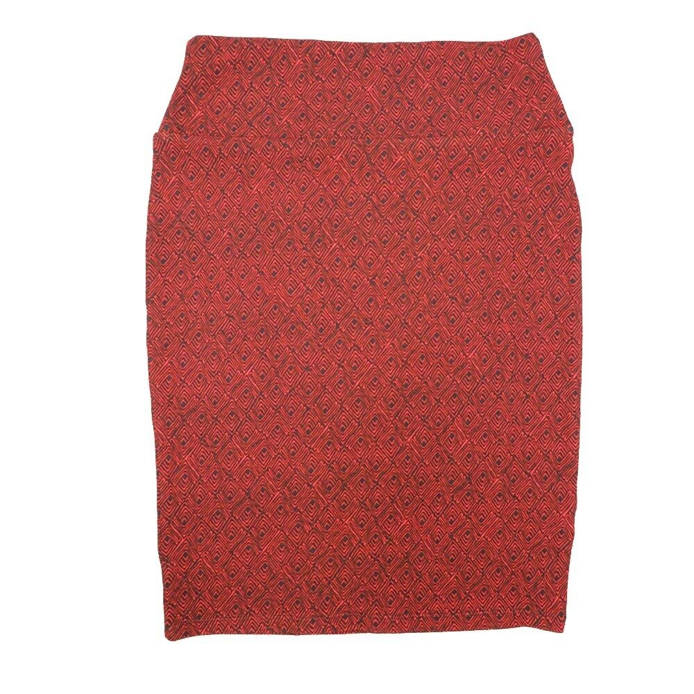 Cassie Small (S) LuLaRoe Red navy Geometric Womens Knee Length Pencil Skirt Fits 6-8