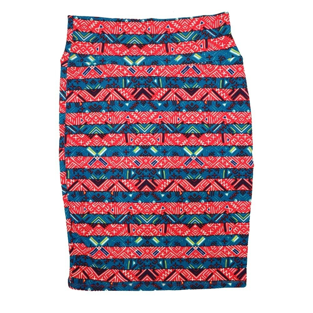 Cassie Small (S) LuLaRoe Light Blue Red cream Geometric Womens Knee Length Pencil Skirt Fits 6-8