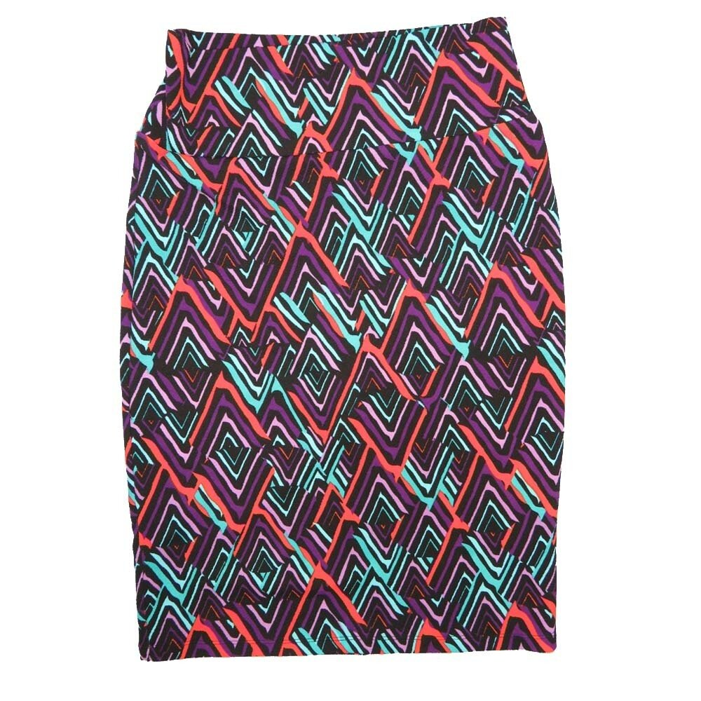 Cassie Small (S) LuLaRoe Zig Zag Purple Pink Light Green Womens Knee Length Pencil Skirt Fits 6-8