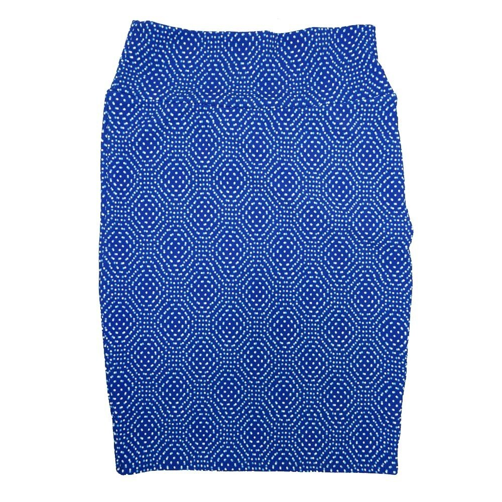Cassie Small (S) LuLaRoe Blue White Polka Womens Knee Length Pencil Skirt Fits 6-8