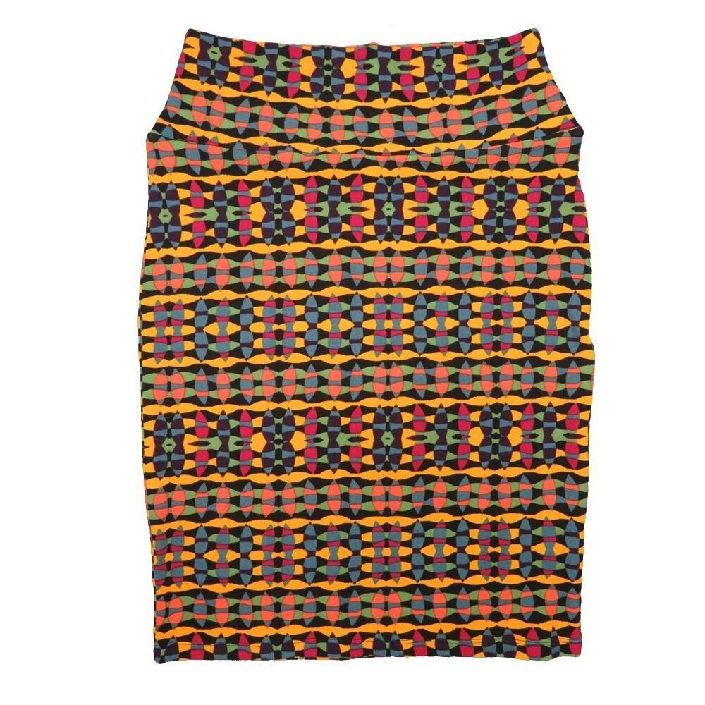 Cassie Small (S) LuLaRoe Yellow Black Multi Geometric Womens Knee Length Pencil Skirt Fits 6-8