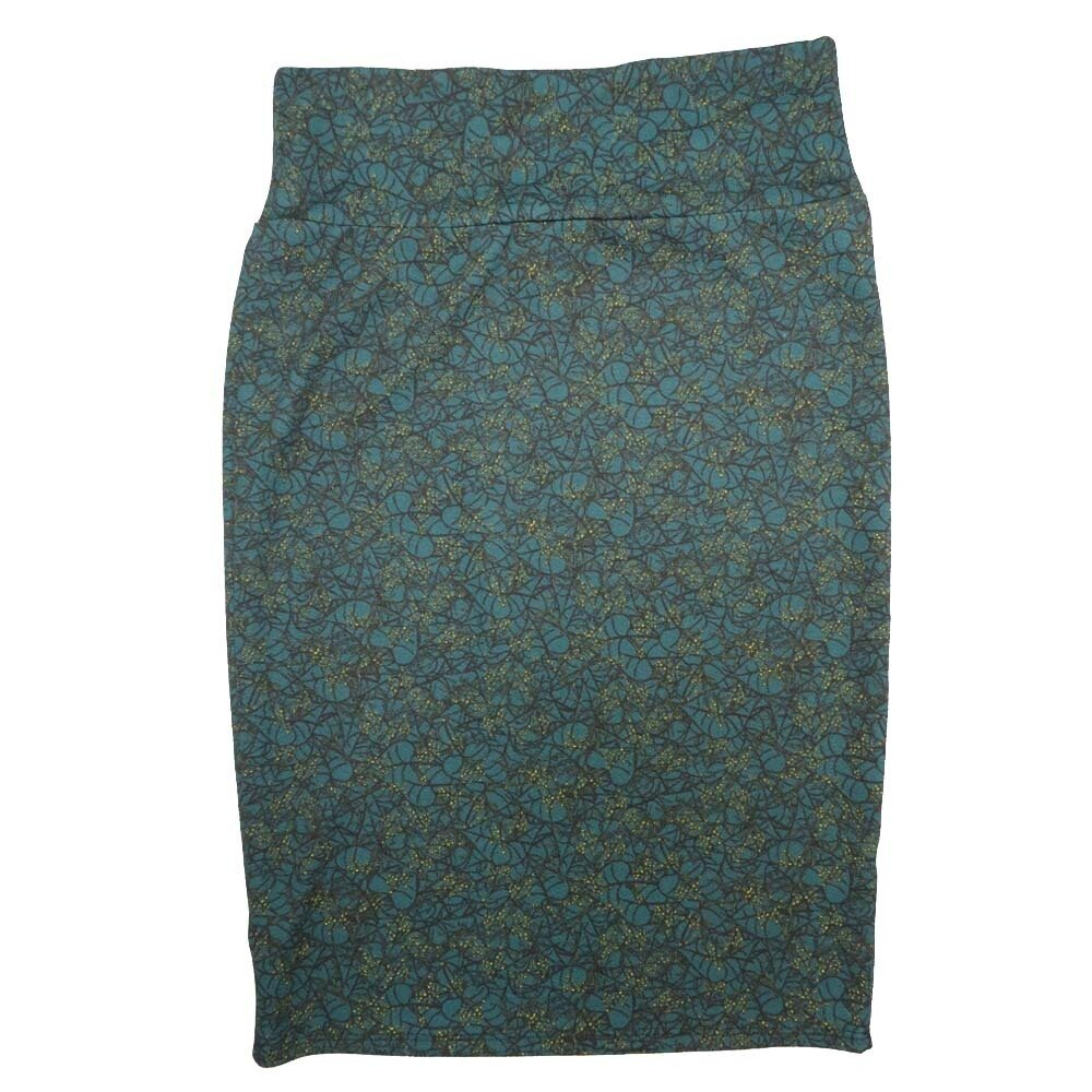 Cassie Small (S) LuLaRoe Light Blue Yellow Geometric Womens Knee Length Pencil Skirt Fits 6-8