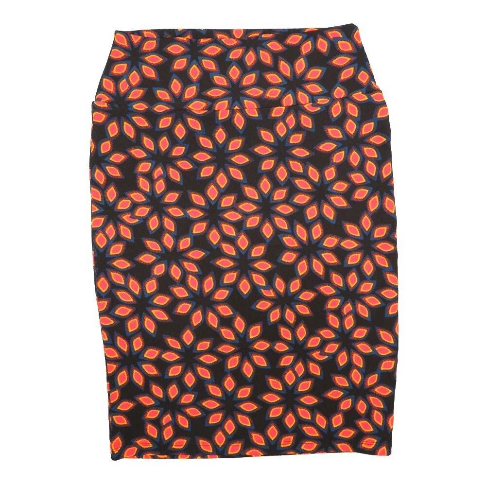 Cassie Small (S) LuLaRoe Black Orange Blue Flroal Womens Knee Length Pencil Skirt Fits 6-8