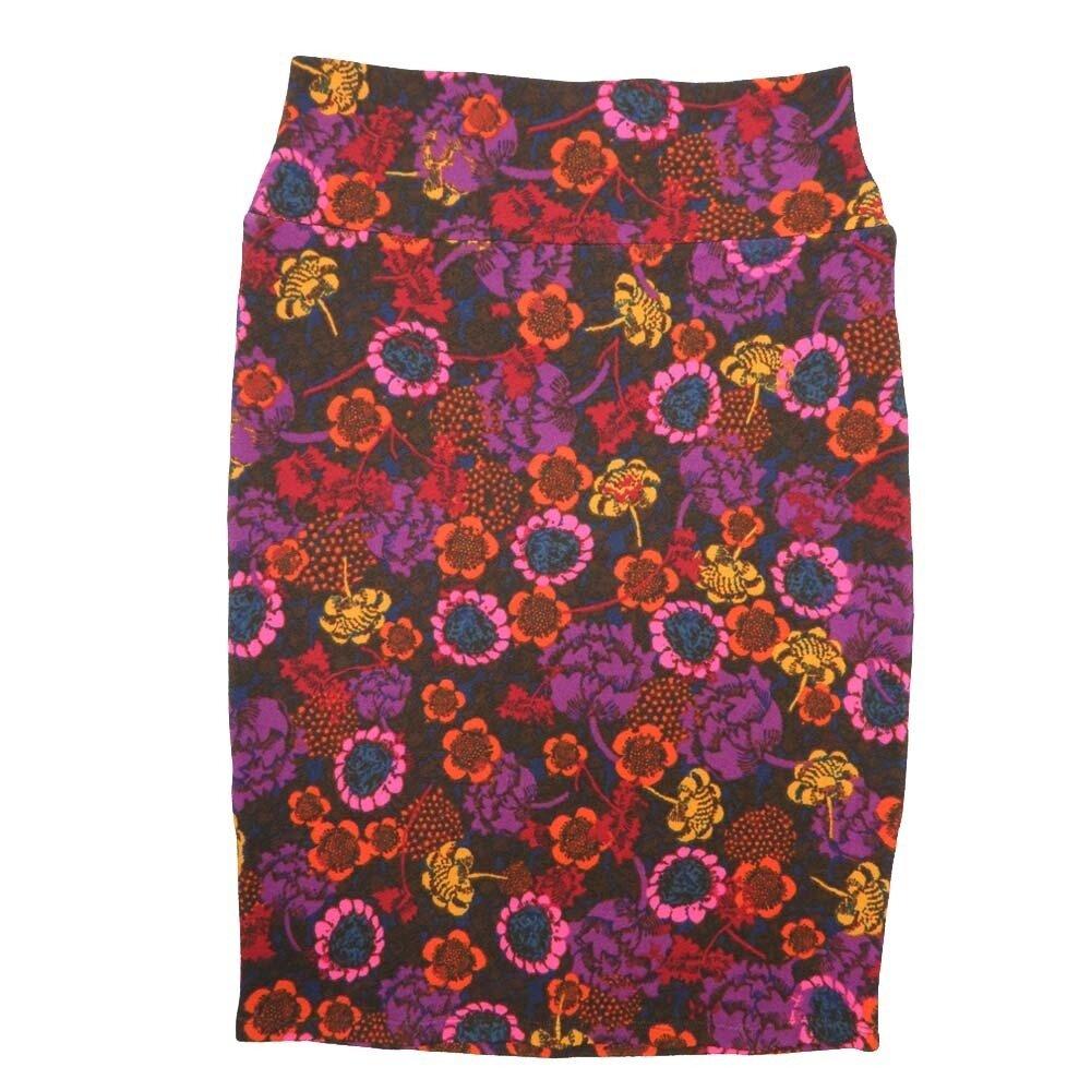 Cassie Small (S) LuLaRoe Dark Purple Pink Orange Yellow Floral Womens Knee Length Pencil Skirt Fits 6-8