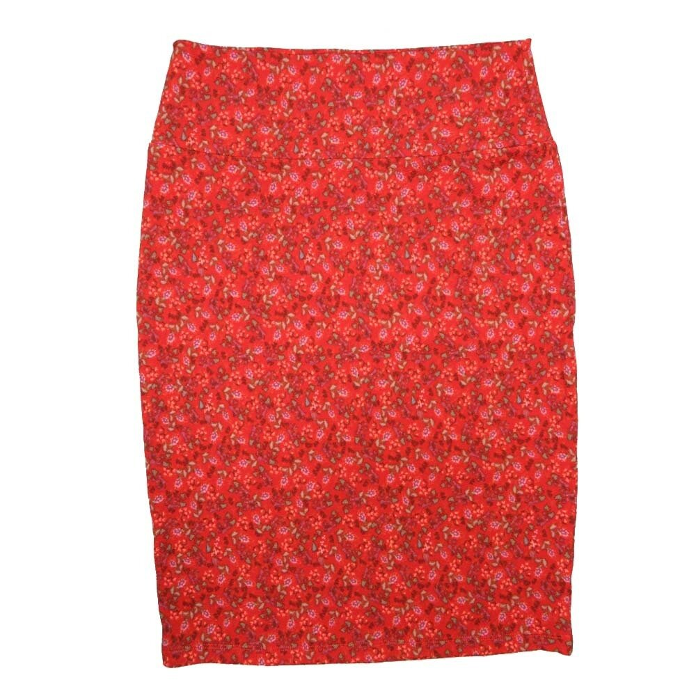 Cassie Small (S) LuLaRoe Red Pale Yellow Floral Womens Knee Length Pencil Skirt Fits 6-8
