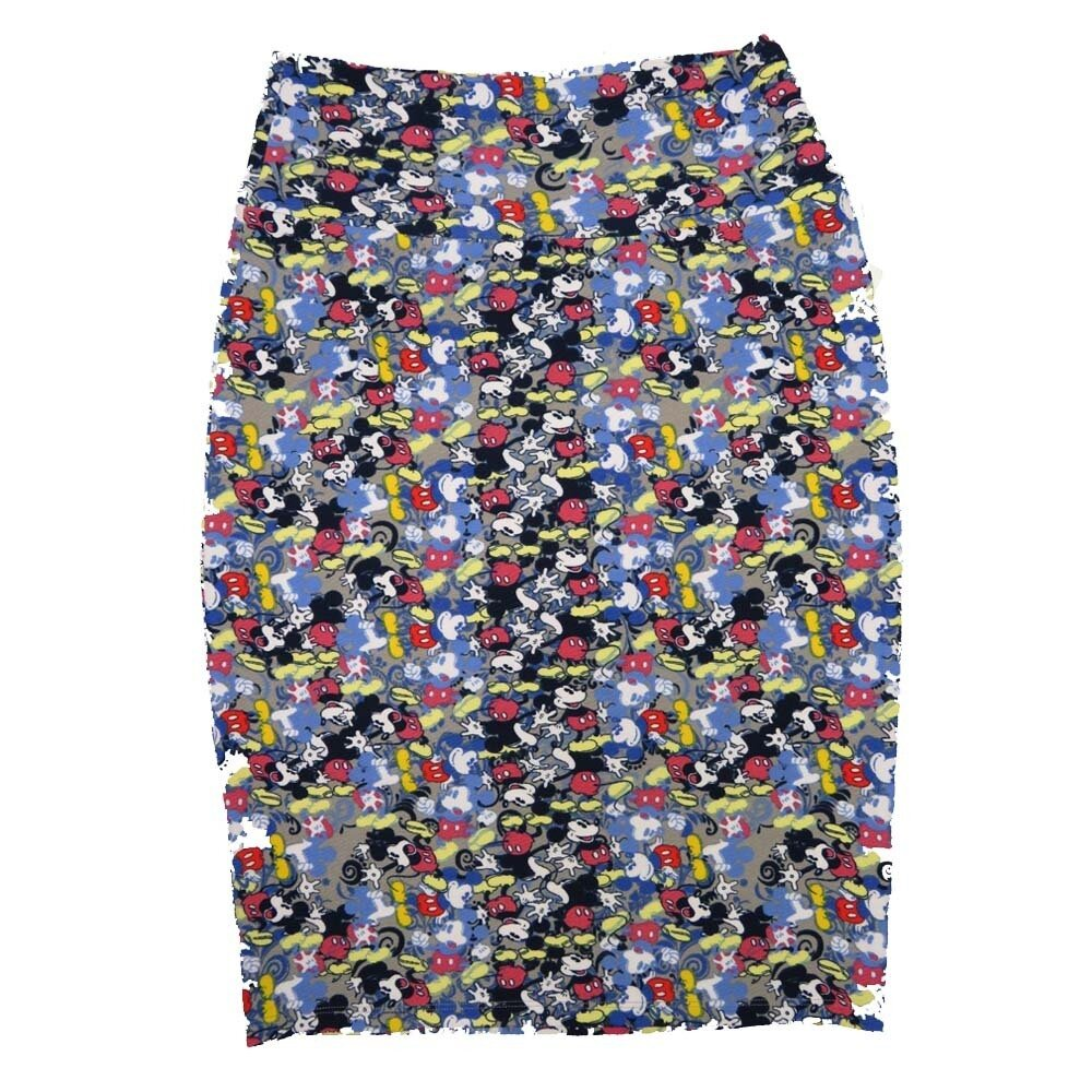 Cassie Small (S) LuLaRoe Disney Mockey Blue Black Womens Knee Length Pencil Skirt Fits 6-8