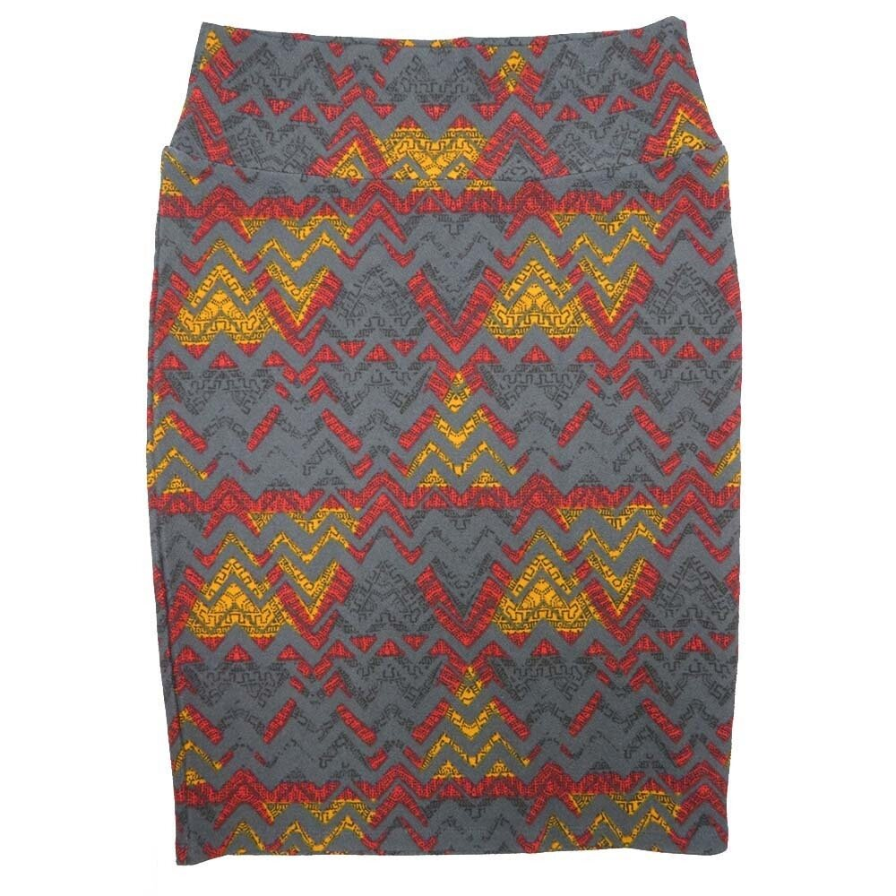 Cassie Medium (M) LuLaRoe Gray Gold Red Triangle Zig Zag Womens Knee Length Pencil Skirt Fits 10-12