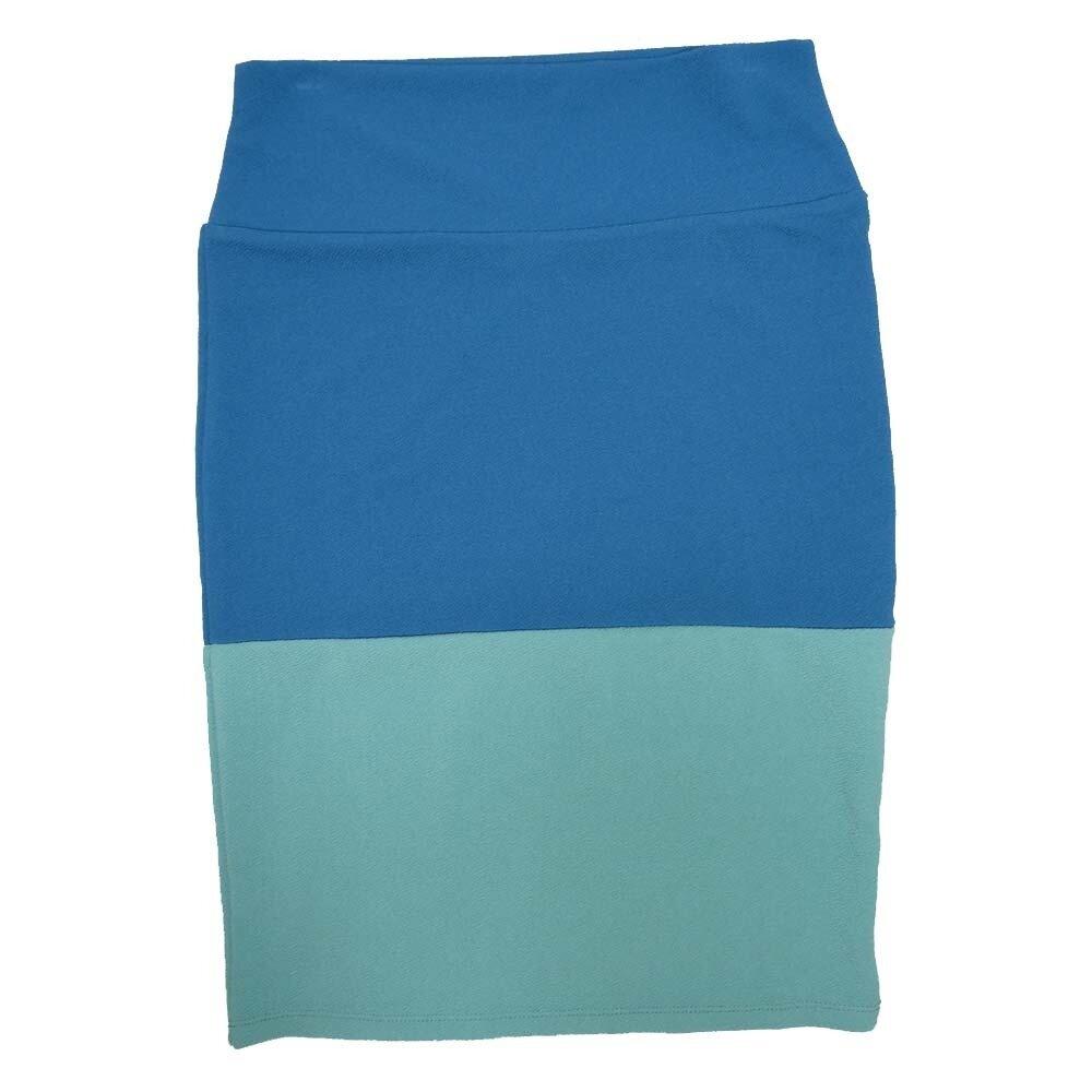Cassie Medium (M) LuLaRoe Solid Two Tone Blue Light Green Womens Knee Length Pencil Skirt Fits 10-12