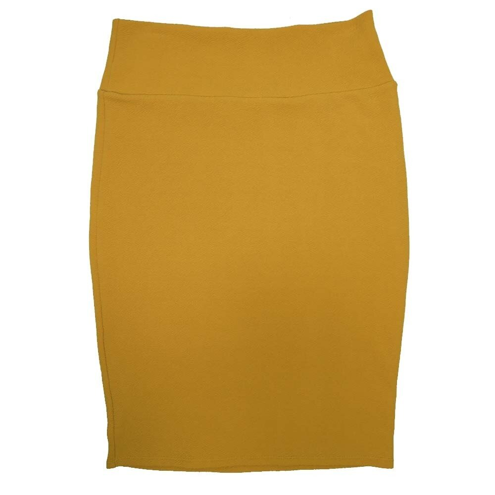 Cassie Medium (M) LuLaRoe Solid Mustard Womens Knee Length Pencil Skirt Fits 10-12