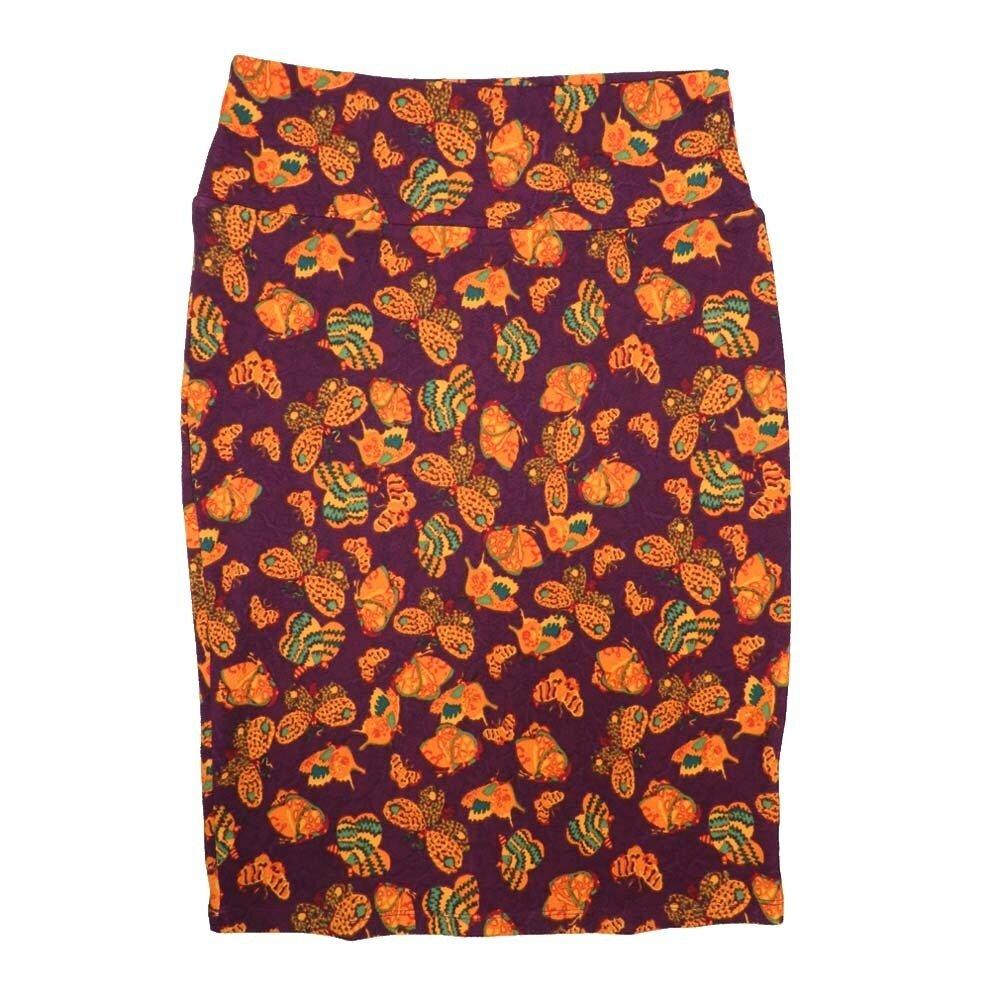 Cassie Medium (M) LuLaRoe Maroon Orange Green Butterflies Womens Knee Length Pencil Skirt Fits 10-12