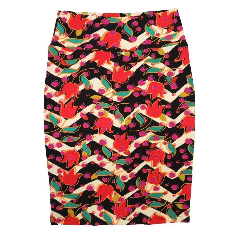 Cassie Medium (M) LuLaRoe White Black Zig Zag Red Light Green Floral Womens Knee Length Pencil Skirt Fits 10-12
