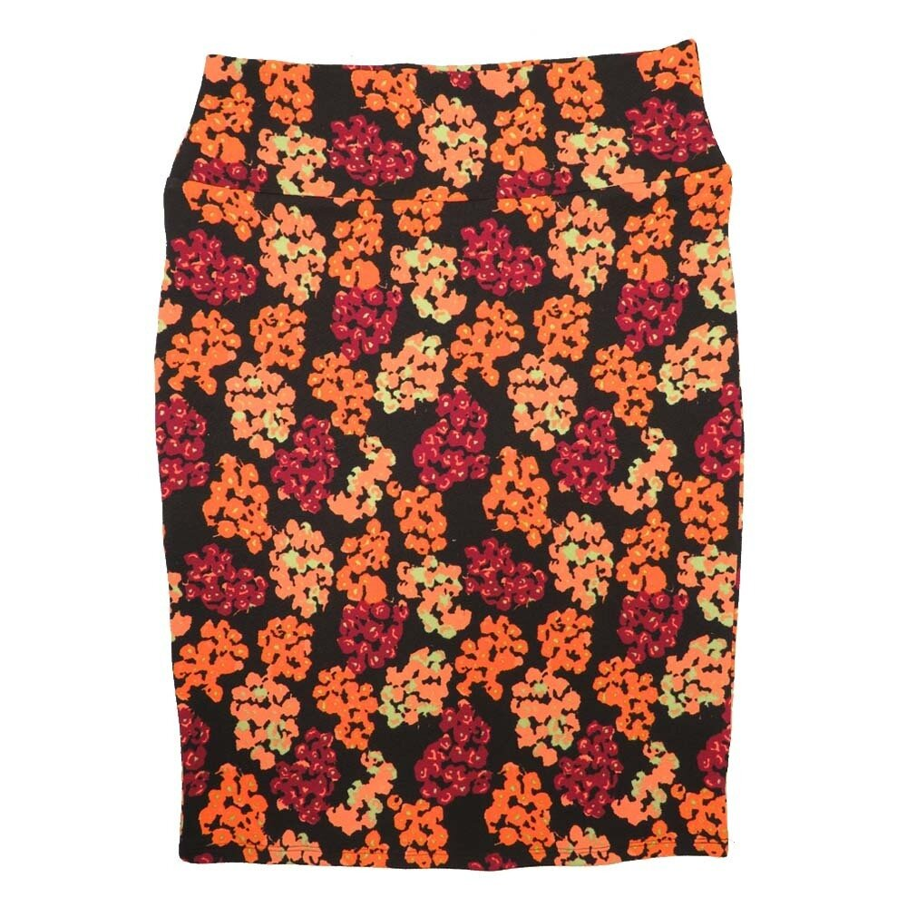Cassie Medium (M) LuLaRoe Black Maroon Orange Coral Flroal Womens Knee Length Pencil Skirt Fits 10-12