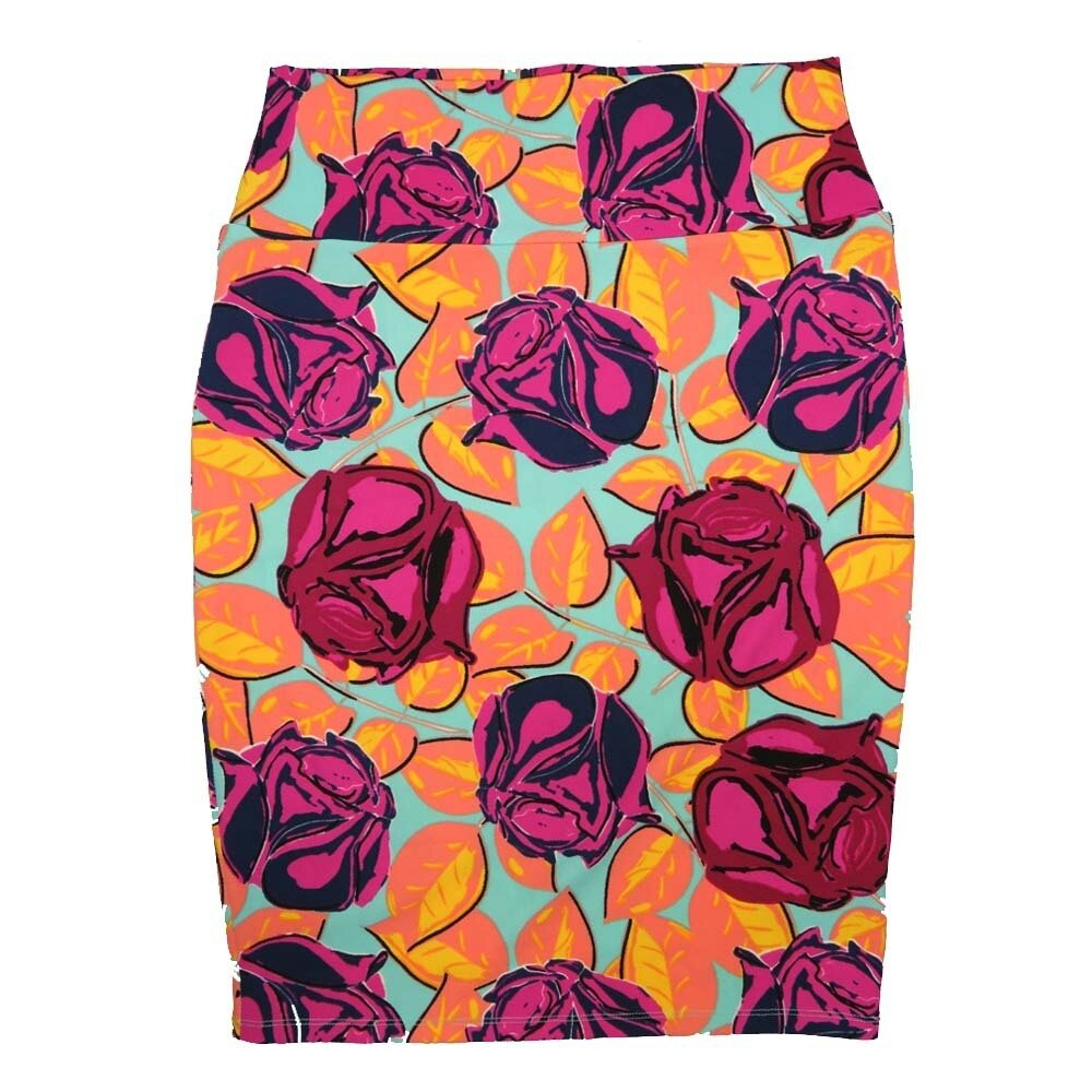 Cassie Medium (M) LuLaRoe Light Green roses Pink Red Womens Knee Length Pencil Skirt Fits 10-12
