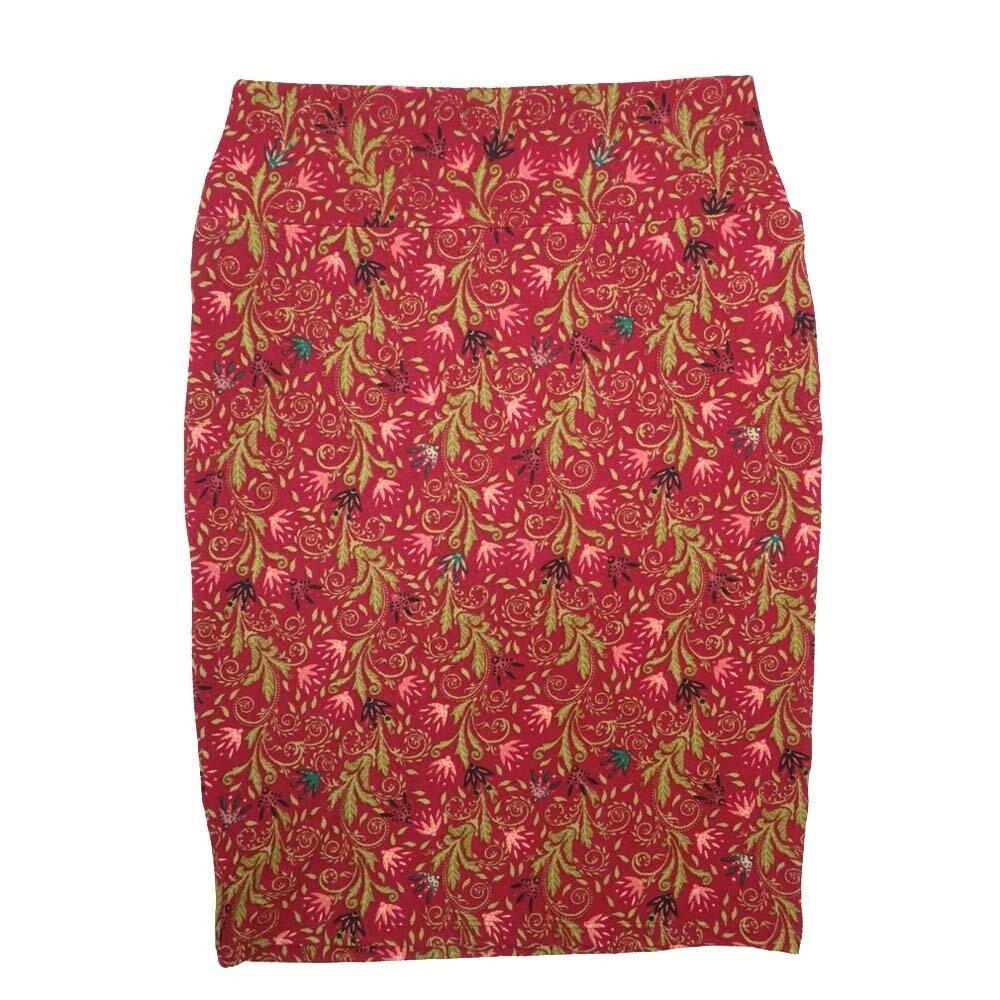 Cassie Medium (M) LuLaRoe Red Gold Pink teal Flroal Womens Knee Length Pencil Skirt Fits 10-12