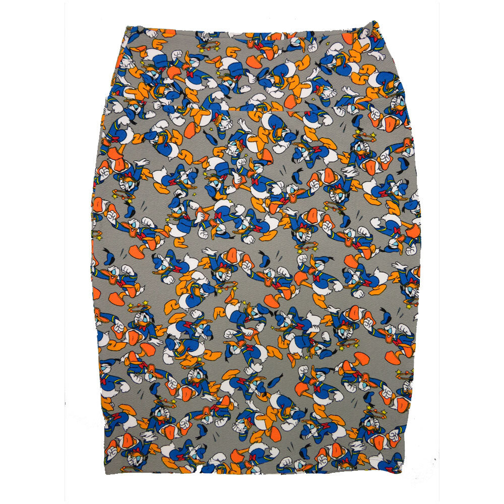 Cassie Medium (M) LuLaRoe Ligth Gray Disney Donald Duck Womens Knee Length Pencil Skirt Fits 10-12