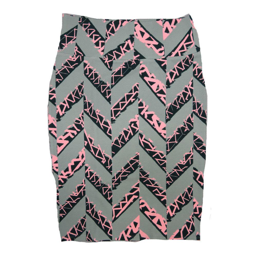 Cassie Medium (M) LuLaRoe Light Gray Pink Black Zig Zag Womens Knee Length Pencil Skirt Fits 10-12
