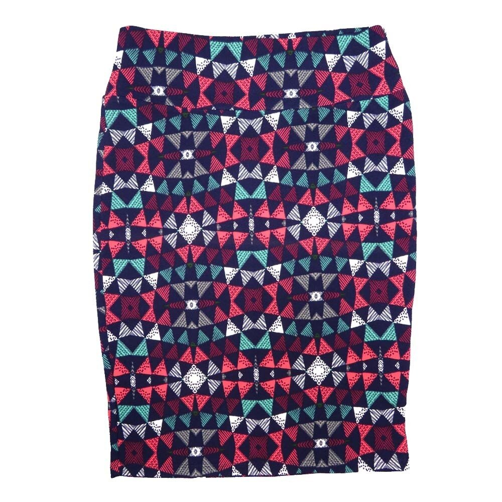 Cassie Medium (M) LuLaRoe Navy Pink White Traingles Womens Knee Length Pencil Skirt Fits 10-12