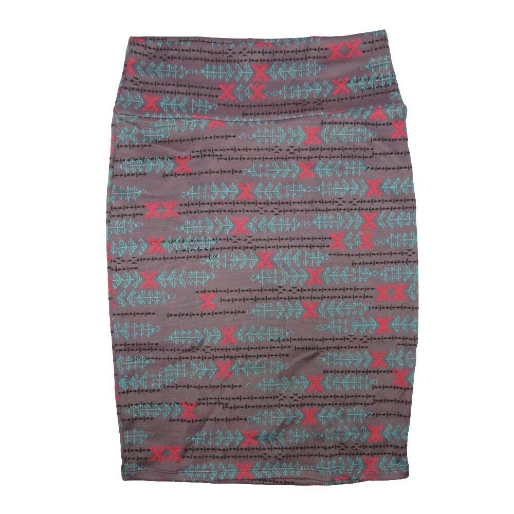 Cassie Medium (M) LuLaRoe Light Gray Pink Blue Arrows Womens Knee Length Pencil Skirt Fits 10-12