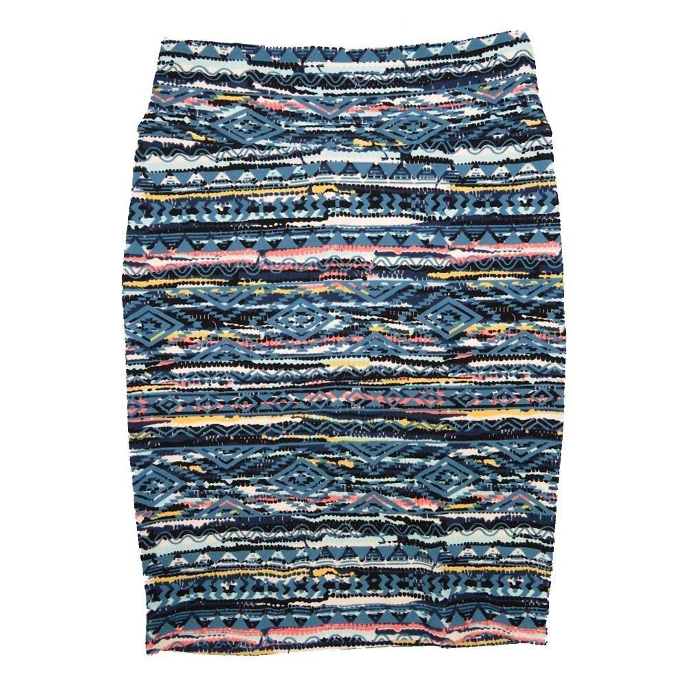 Cassie Medium (M) LuLaRoe Stripe Light Blue Peach Yellow Womens Knee Length Pencil Skirt Fits 10-12
