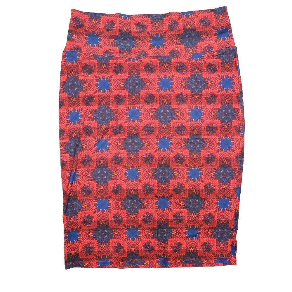 Cassie Medium (M) LuLaRoe Red Blue Mandala Womens Knee Length Pencil Skirt Fits 10-12