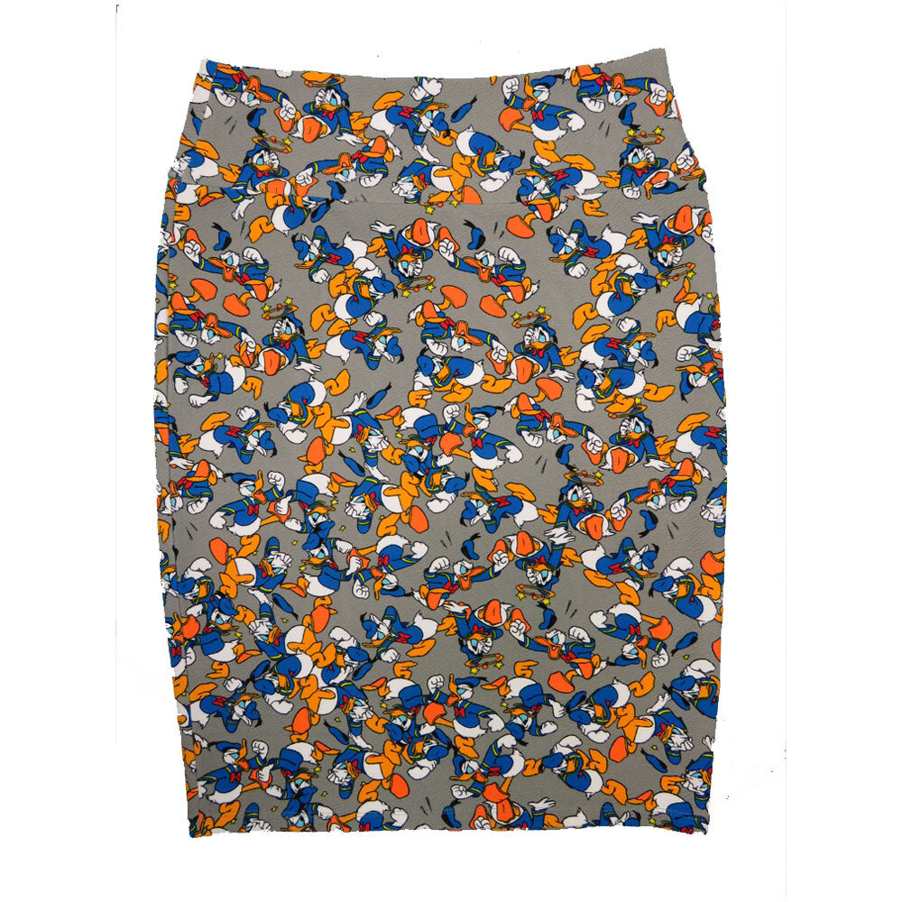 Cassie Large (L) LuLaRoe Disney Donald Duck Gray Womens Knee Length Pencil Skirt Fits 14-16