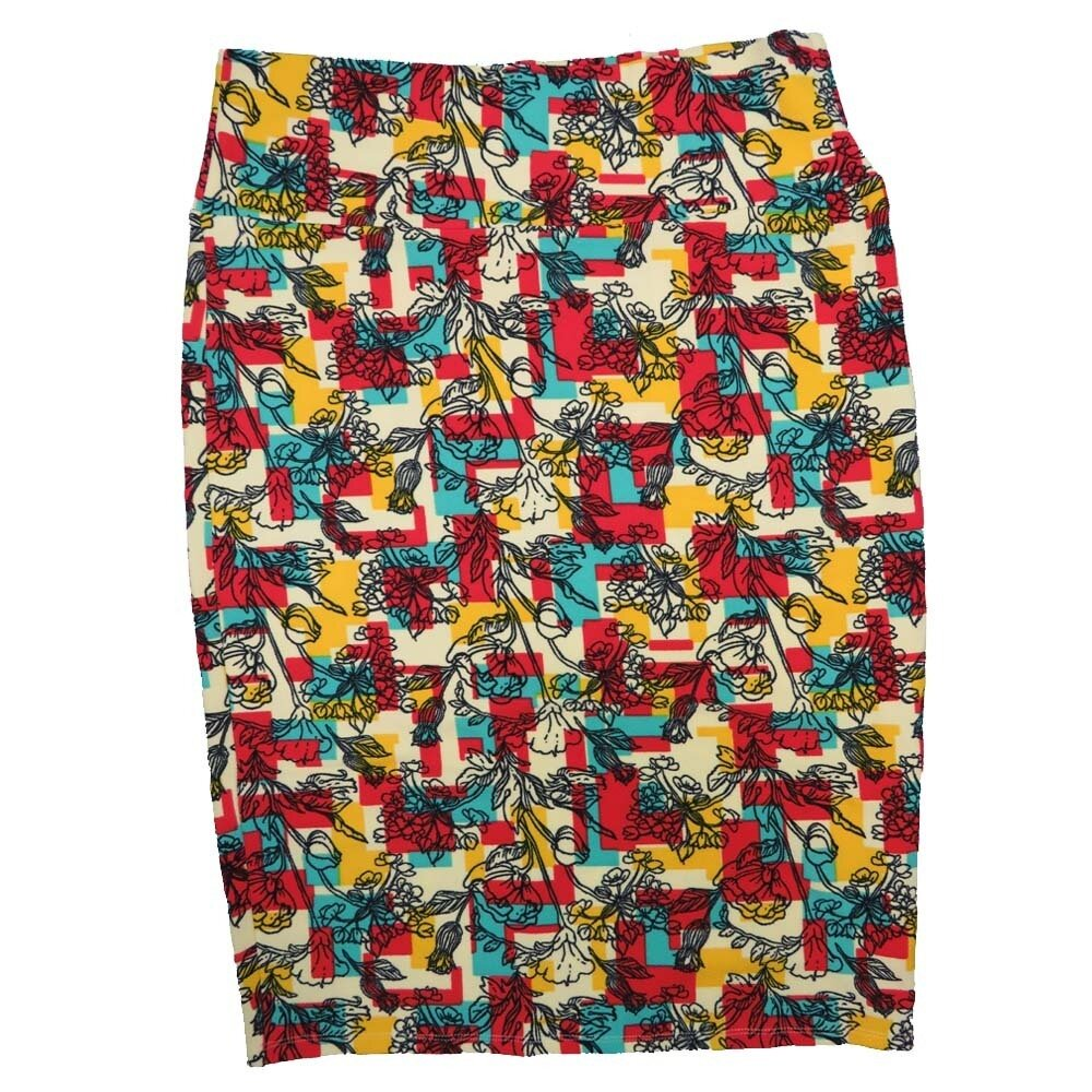 Cassie Large (L) LuLaRoe Cream Yellow Red Blue Floral Womens Knee Length Pencil Skirt Fits 14-16