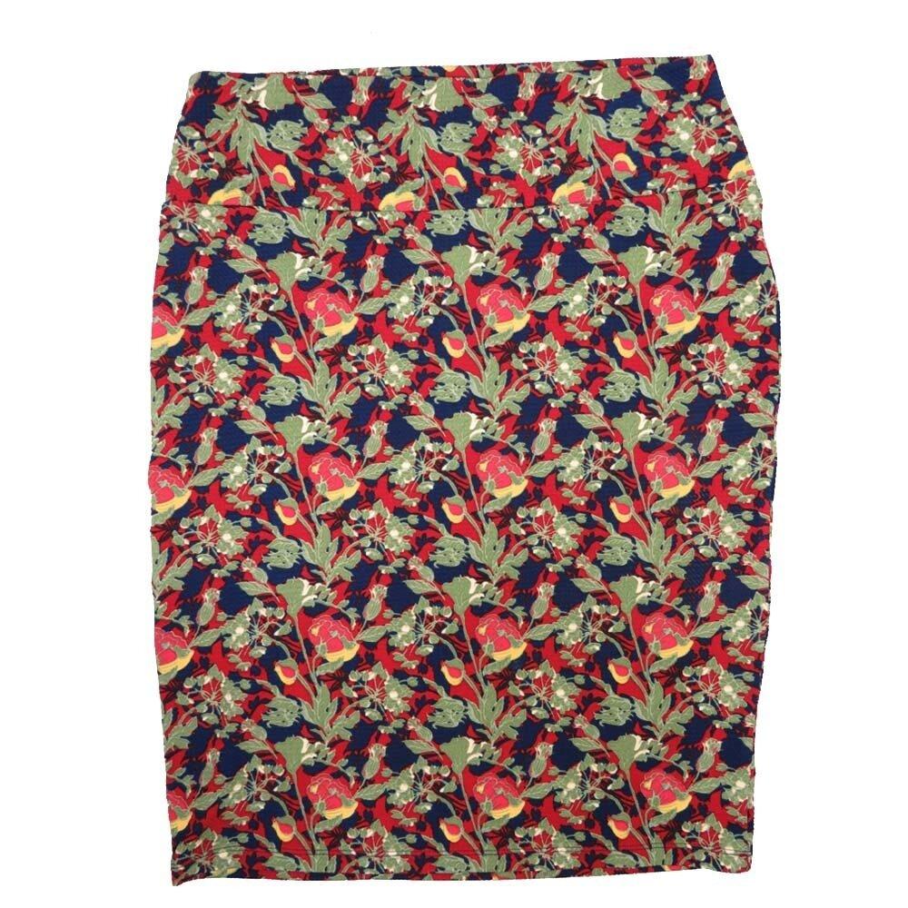 Cassie Large (L) LuLaRoe Deep Blue Pink Light Ghreen Flroal Womens Knee Length Pencil Skirt Fits 14-16