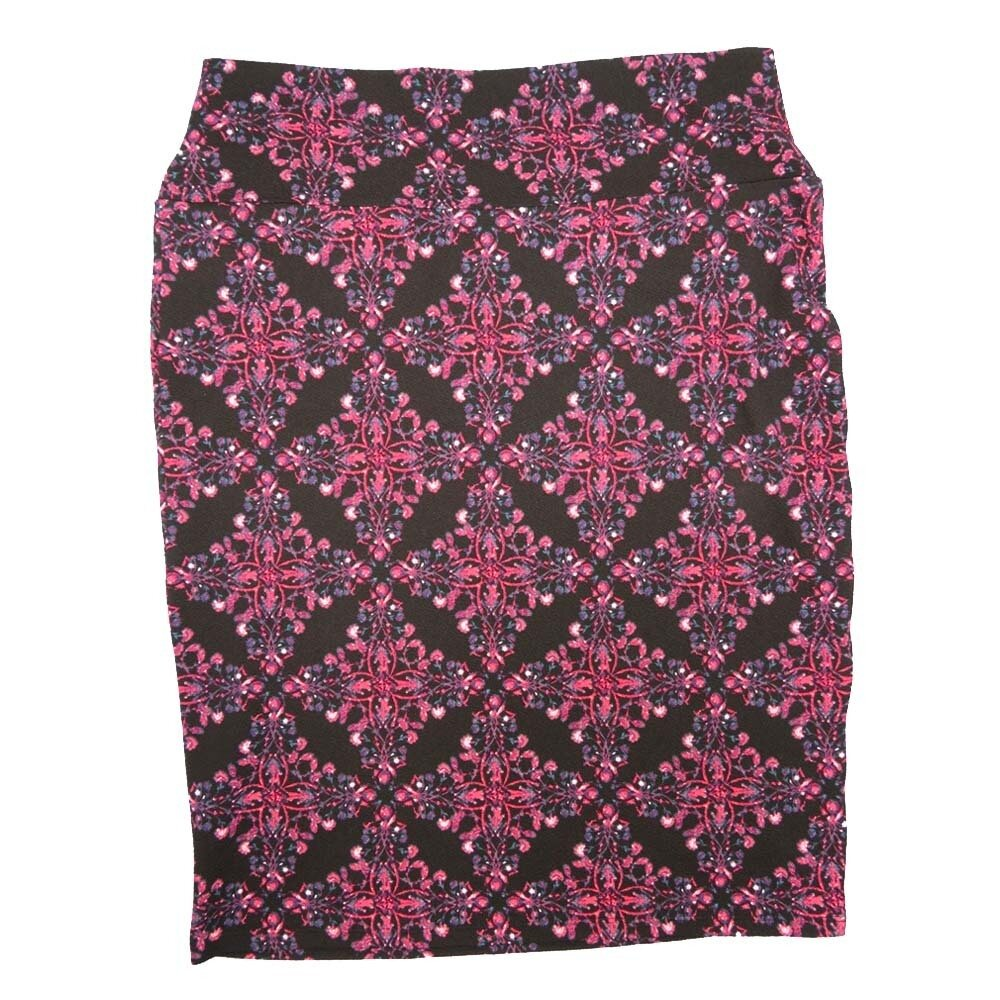 Cassie Large (L) LuLaRoe Black with Pink Blue Paisley Diamond Womens Knee Length Pencil Skirt Fits 14-16