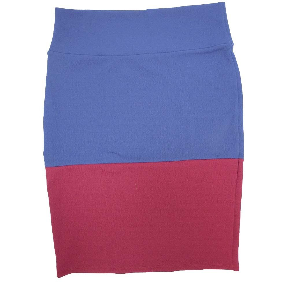 Cassie Large (L) LuLaRoe Solid Two Tone Navy Wine Womens Knee Length Pencil Skirt Fits 14-16