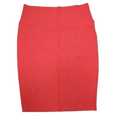 Cassie Large (L) LuLaRoe Lacy Red Embossed Geometric Womens Knee Length Pencil Skirt Fits 14-16