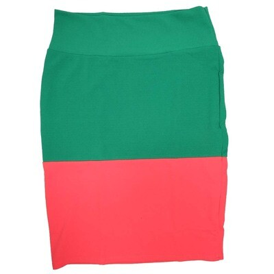 Cassie Large (L) LuLaRoe Two Tone Green Light Pink Solid Womens Knee Length Pencil Skirt Fits 14-16