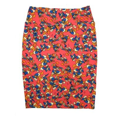 Cassie Large (L) LuLaRoe Coral Disney Donald Duck Womens Knee Length Pencil Skirt Fits 14-16