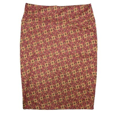Cassie Large (L) LuLaRoe Maroon Gold Geometric Womens Knee Length Pencil Skirt Fits 14-16