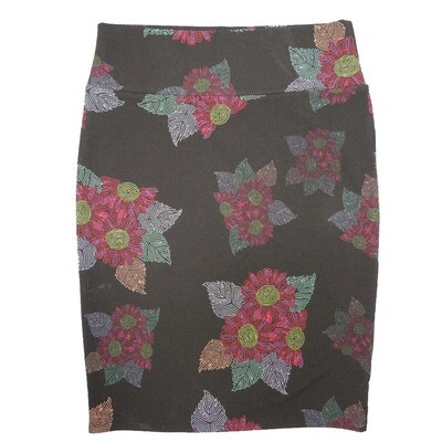 Cassie Large (L) LuLaRoe Black Light Red Daisy Floral Womens Knee Length Pencil Skirt Fits 14-16