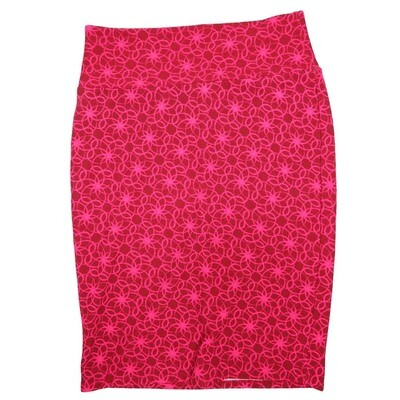 Cassie Large (L) LuLaRoe Deep Red Pink Geometric Floral Womens Knee Length Pencil Skirt Fits 14-16