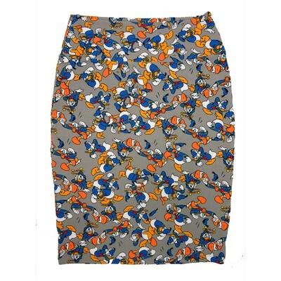 Cassie Medium (M) LuLaRoe Ligth Gray Disney Donald Duck Womens Knee Length Pencil Skirt Fits 10-12
