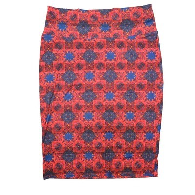 Cassie Medium (M) LuLaRoe Red Blue Mandala Womens Knee Length Pencil Skirt Fits 10-12