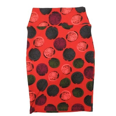Cassie X-Small (XS) LuLaRoe Polka Dot Red Blue Maroon Womens Knee Length Pencil Skirt Fits 2-4