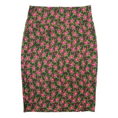 Cassie Medium (M) LuLaRoe Dark Green Fucshia Flroal Womens Knee Length Pencil Skirt Fits 10-12