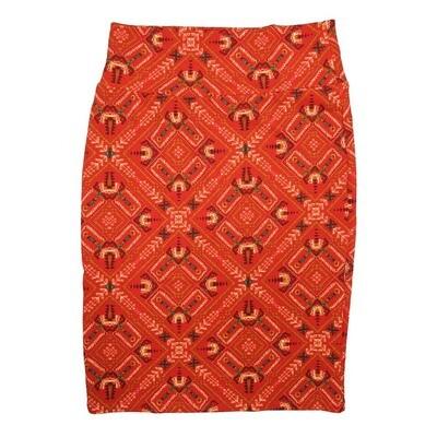 Cassie Medium (M) LuLaRoe Aztek Red Light Green Womens Knee Length Pencil Skirt Fits 10-12