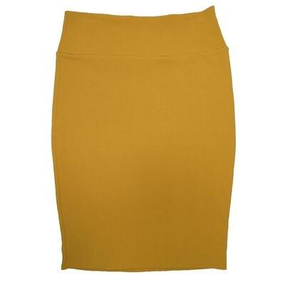 Cassie Medium (M) LuLaRoe Solid Mustard Womens Knee Length Pencil Skirt Fits 10-12