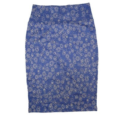 Cassie X-Small (XS) LuLaRoe Floral Blue White Womens Knee Length Pencil Skirt Fits 2-4