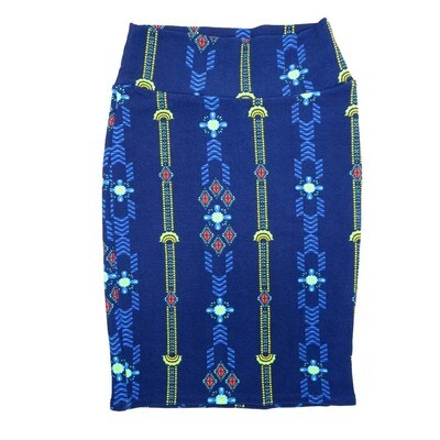 Cassie X-Small (XS) LuLaRoe Geometric Stripe Blue Yellow White Womens Knee Length Pencil Skirt Fits 2-4