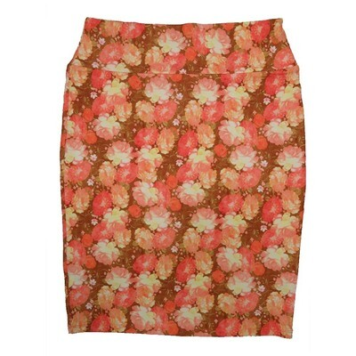 Cassie X-Large (XL) LuLaRoe Floral Geometric Coral Pink Yellow Womens Knee Length Pencil Skirt Fits 18-20