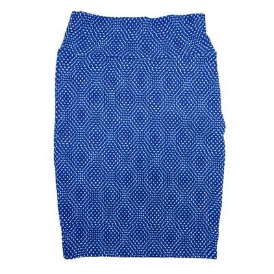 Cassie Small (S) LuLaRoe Blue White Polka Womens Knee Length Pencil Skirt Fits 6-8