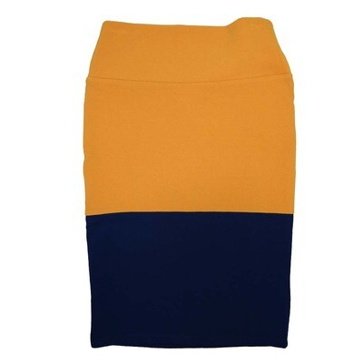 Cassie X-Small (XS) LuLaRoe Two Tone Solid Navy Gold Womens Knee Length Pencil Skirt Fits 2-4