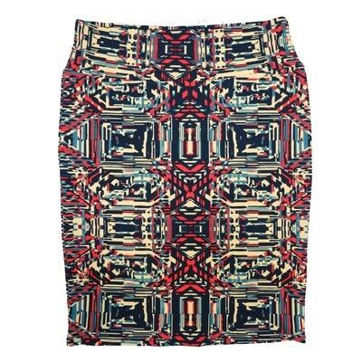 Cassie X-Large (XL) LuLaRoe Trippy Geometric Cream Red Blue Womens Knee Length Pencil Skirt Fits 18-20